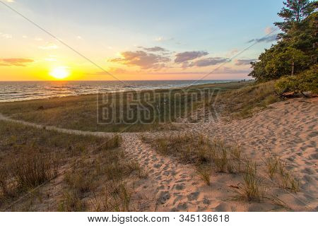 Winding Sandy Path On Sunset Beach At Hoffmaster State Park In Muskegon, Michigan.