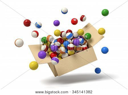 3d Rendering Of Cardboard Box In Air Full Of Colorful Snooker Balls Which Are Flying Out And Floatin