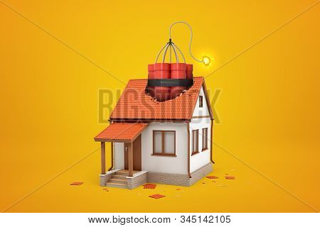 3d Rendering Of Small One-storey House With Broken Roof And Enormous Bundle Of Dynamite Sticking Out