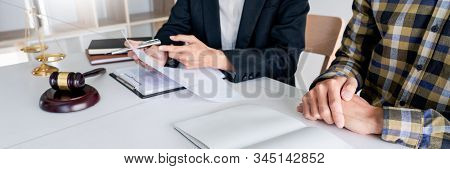 Lawyer Having Meeting And Consoling Solution To His Clients Provide Legal Advice And Trust Commitmen