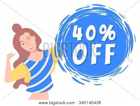 40 Forty Percent Off, Best Price With Discount On Sale Capture On Blue Field. Happy Brunette Girl Of