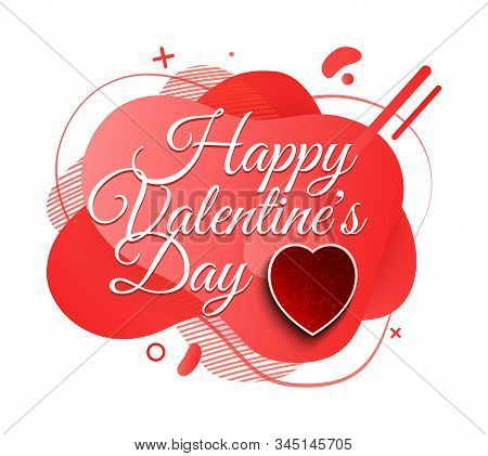 Happy Valentines Day Vector, Celebration Of Romantic Holiday Hearts And Shapes, Greeting With Specia
