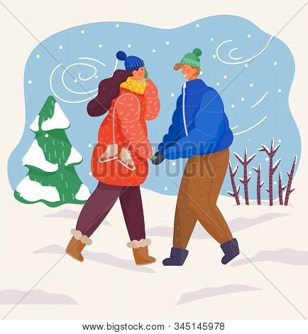 Man And Woman Leading Active Lifestyle In Winter. Ice Skaters Outside Passing Pine Trees Of Forest.