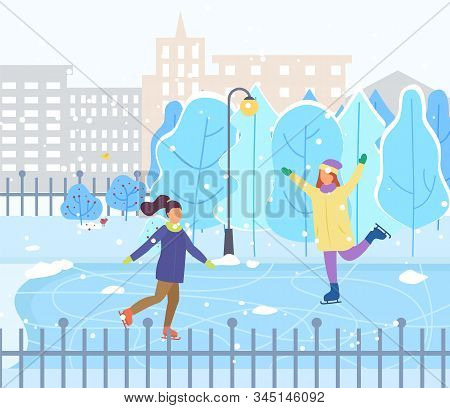 Two Girls Skating On Rink In Urban Park. Woman And Kid Spend Leisure Time Together. Outdoor Activity