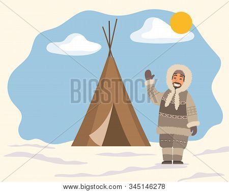 Smiling Arctic Person In Traditional Warm Clothes Standing Near Tent On Snowy Landscape. Man Hunter