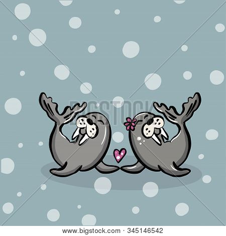Color Vector Illustration Of Animal Walruses For Valentine Day, Couples In Love On The Backgrounds