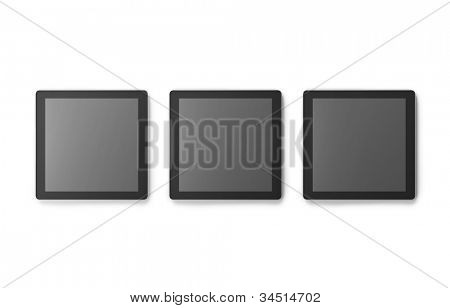 Three square tablet PCs isolated on white.