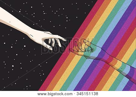 Reaching Hands And Rainbow In Space. Gay Pride. Romantic Lgbt Concept. Rainbow Colored Hand. Abstrac