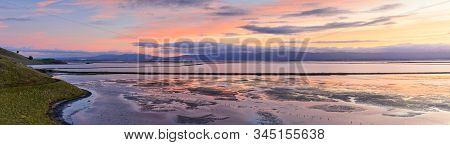 Panoramic Views Of Coyote Hills And Salt Evaporation Ponds With Dumbarton Bridge In The Background O