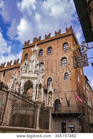 Verona, Italy - May 24, 2019: Scaliger Tombs In Verona, Italy. It Is Gothic Funerary Monument Celebr