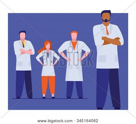 Medical Administrator And His Team Standing Confidently. Group Of Doctors Posing Flat Vector Illustr