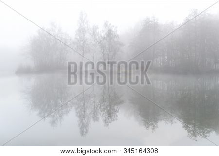 Fog Over The Pond On The Field In Ardooie In West Flanders