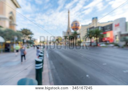 Abstract Blurred background of Las Vegas strip boulevard in Las Vegas city Nevada USA