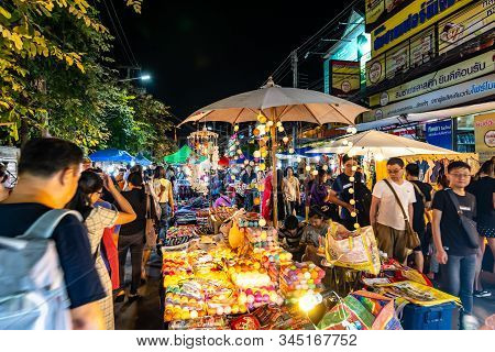 Chiang Mai, Thailand - 3.11.2019: Night Market In Chiang Mai City Shortly After Sunset. Tourist Are