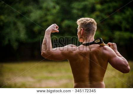 Striking The Pose. Masculine Concept. Illegal Logging. Woodsman With Axe In Hand. Muscular Man With