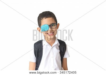 Portrait Of Boy In Glasses With Patch. Eye Patch For Glasses T Treat Lazy Eye, Amblyopia, Strabismus