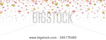 Gold Glitter And Pink Hearts Confetti Border. Bright Hearts Confetti Falling On White Background. Va