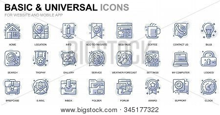 Simple Set Basic Line Icons For Website And Mobile Apps. Contains Such Icons As Location, Briefcase,