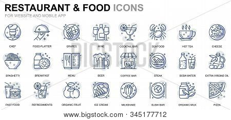 Simple Set Restaurant And Food Line Icons For Website And Mobile Apps. Contains Such Icons As Fast F