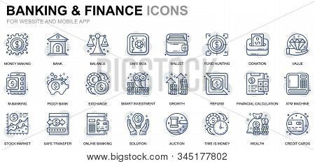 Simple Set Banking And Finance Line Icons For Website And Mobile Apps. Contains Such Icons As Balanc