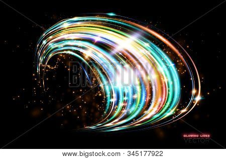 Futuristic Wave Flash. Magic Sparks. Mystical Shine Streaks. Empty Place. Abstract Background. Neon