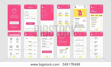 Set Of Ui, Ux, Gui Screens Shopping App Flat Design Template For Mobile Apps, Responsive Website Wir