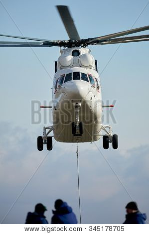 Transport Helicopter Mi-26 Tc Transfers Load On The External Suspension. Heavy Helicopter On The Cod