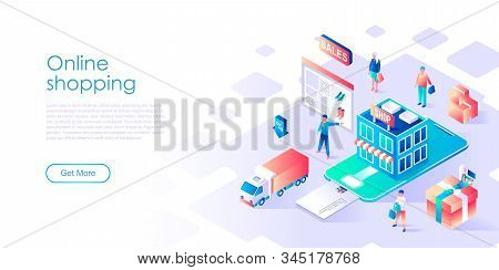 Modern Flat Design Isometric Concept Of Online Shopping For Banner And Website. Isometric Landing Pa
