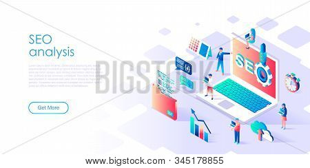 Modern Flat Design Isometric Concept Of Seo Analysis For Banner And Website. Isometric Landing Page