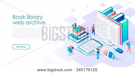 Modern Flat Design Isometric Concept Of Book Library For Banner And Website. Isometric Landing Page