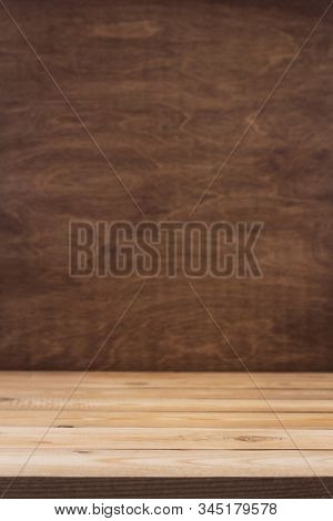 wooden plank  table background as texture surface, front view