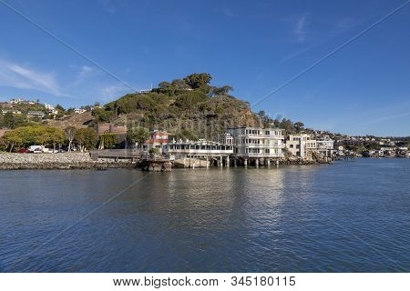 San Francisco, California, Usa. December 29th 2018. A View Of Tiburon Shoreline Homes From Angel Isl