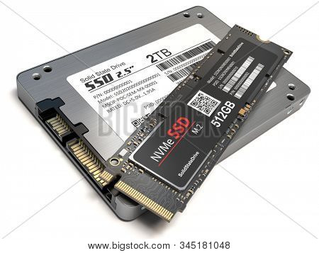 Different types of SSD disk drive isolated on white background. Classic SSD and SSD m2. 3d illustration