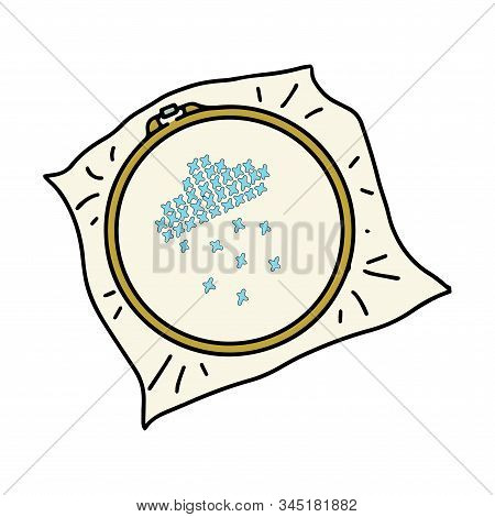 Cross-stitch On The Hoop. Colored Vector Illustration Isolated On A White Background. Hand-drawn Doo