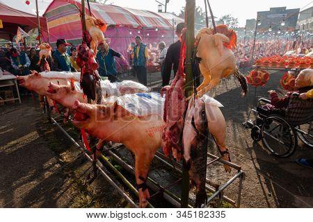 Nantou, Taiwan - December 21th, 2019: Shuili taoism carnival and sacrifice, be hold at every 12 years at Shuili Township, Nantou County, Taiwan