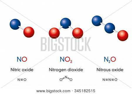 Nitric Oxide No, Nitrogen Dioxide No2 And Nitrous Oxide N2o, Laughing Gas, Molecule Models And Chemi