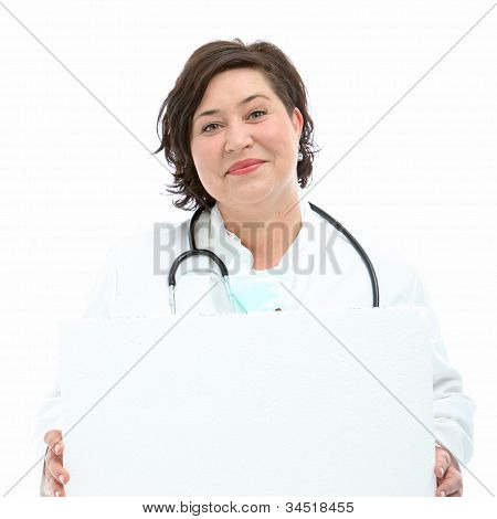 Charismatic Doctor Holding Blank Board