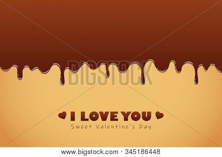 Sweet Melting Chocolate Icing For Valentines Day Vector Illustration Eps10