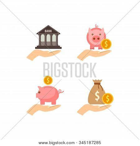 Banking Icons Set. Pink Piggy Bank, Bank Building And Bag With A Gold Coin In Hands, Vector Illustra