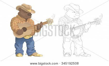 Cartoon Bear Cowboy On A White Background Plays The Guitar.