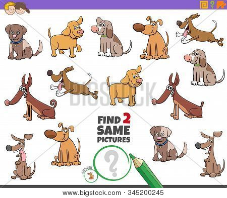 Cartoon Illustration Of Finding Two Same Pictures Educational Activity Game For Children With Dogs A