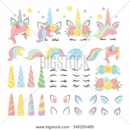 Unicorn Elements Flat Vector Illustrations Set. Girly, Childish Stickers Isolated Pack. Magical Hors
