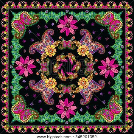 Festive Bandana Print With Flowers, Butterflies And Paisley Ornament. Colorful Square Pattern. Card,