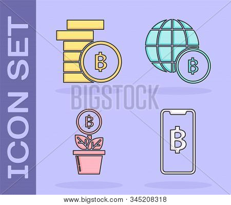 Set Phone Mobile And Cryptocurrency Coin Bitcoin, Cryptocurrency Coin Bitcoin, Bitcoin Plant In The