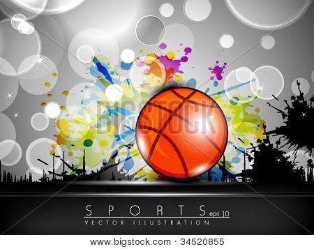 Illustration of Basketball on creative colorful grungy grey background with text space for your message. EPS 10.