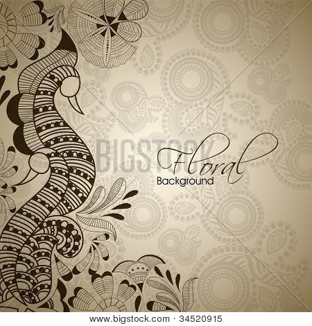 Vintage abstract floral background with peacock design. EPS 10.