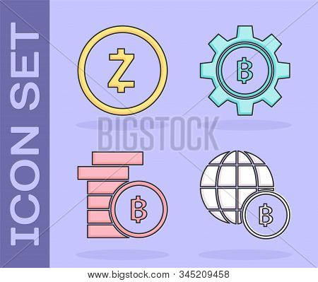 Set Globe And Cryptocurrency Coin Bitcoin, Cryptocurrency Coin Zcash Zec, Cryptocurrency Coin Bitcoi