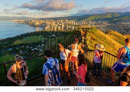 View From Diamond Head Summit On Honolulu, Oahu, Hawaii