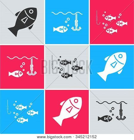 Set Fish, Fishing Hook Under Water With Fish And Fishing Hook Under Water With Fish Icon. Vector