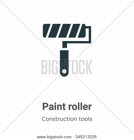 Paint Roller Vector Icon On White Background. Flat Vector Paint Roller Icon Symbol Sign From Modern